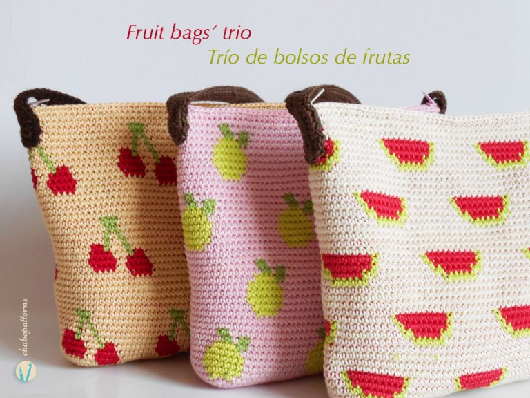 Crochet Bolsos Frutales -Patrón-